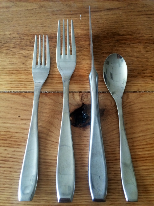 Asher Stainless Pattern<br><br>This stainless flatware pattern is available in Dinner Forks, Cake/Salad Forks, Dinner Knives and Tea Spoons.