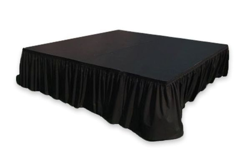 Stage panel showing black stage skirting<br><br>