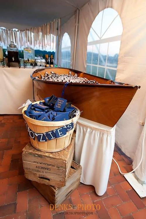Large Boat Bar<br><br>Handmade by Chip, this boat bar can be filled with ice and used as a self-serve bar or raw bar! Add linen skirting in any color to complete your nautical look.