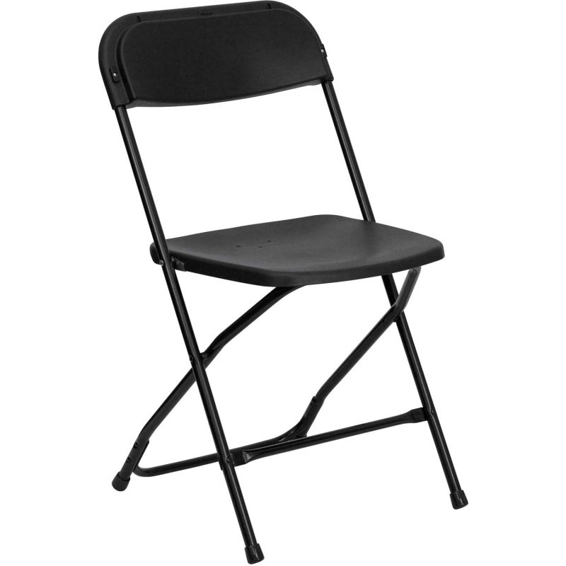 Black Folding Plastic Chair<br><br>$1.20 plus tax