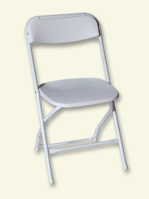 White Folding Plastic Chair<br><br>$1.50 plus tax
