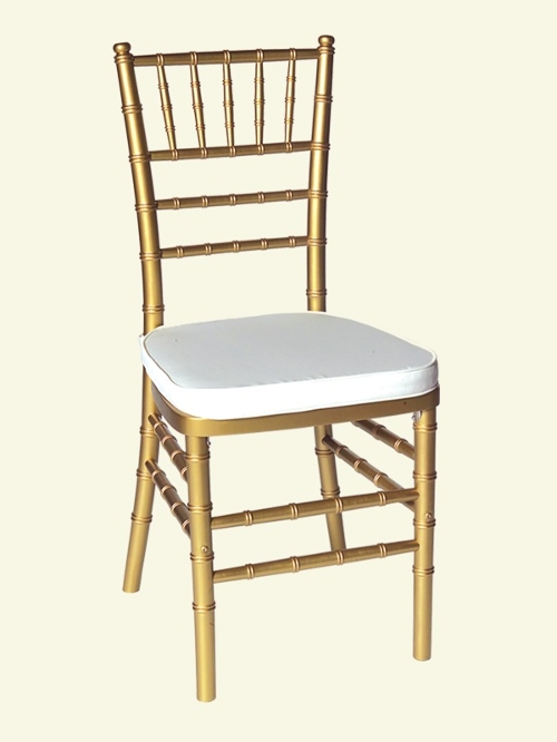 Gold Chiavari Chair<br><br>$6.75 plus tax, includes cushion! Cushions for all of our Chiavari Chairs come in a variety of colors. Please call for more information!