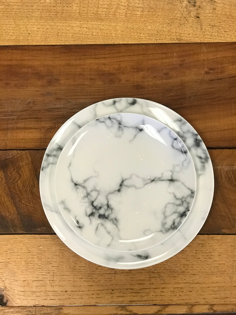 Marble Plates<br><br>Want to add a sophisticated air to your events dining experience? Try our new Marble china available in 8' and 10' sizes!
