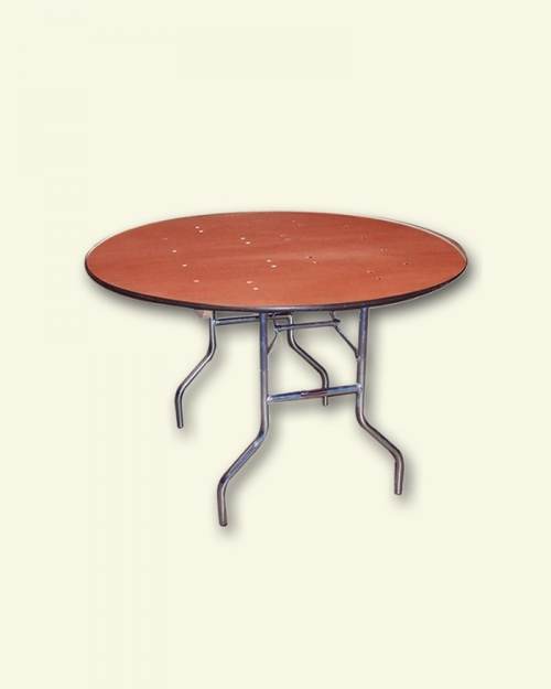 Round Tables<br><br>Traditional 5' round tables are great for guest seating. 8 - 10 guests may sit at this table at once! Also available in 3', 4', and 6' sizes. The legs of these tables do fold, but the table top does not; if you are picking up these tables, you must have a full size pick up truck, they will not fit in SUVs or smaller vehicles! Leasing tax will be added to all prices listed below: 3' RD SEATS 4-6: $8.00 4' RD SEATS 6-7: $8.50 5' RD SEATS 8-10: $9.50 6' RD SEATS 10-12: $12.00