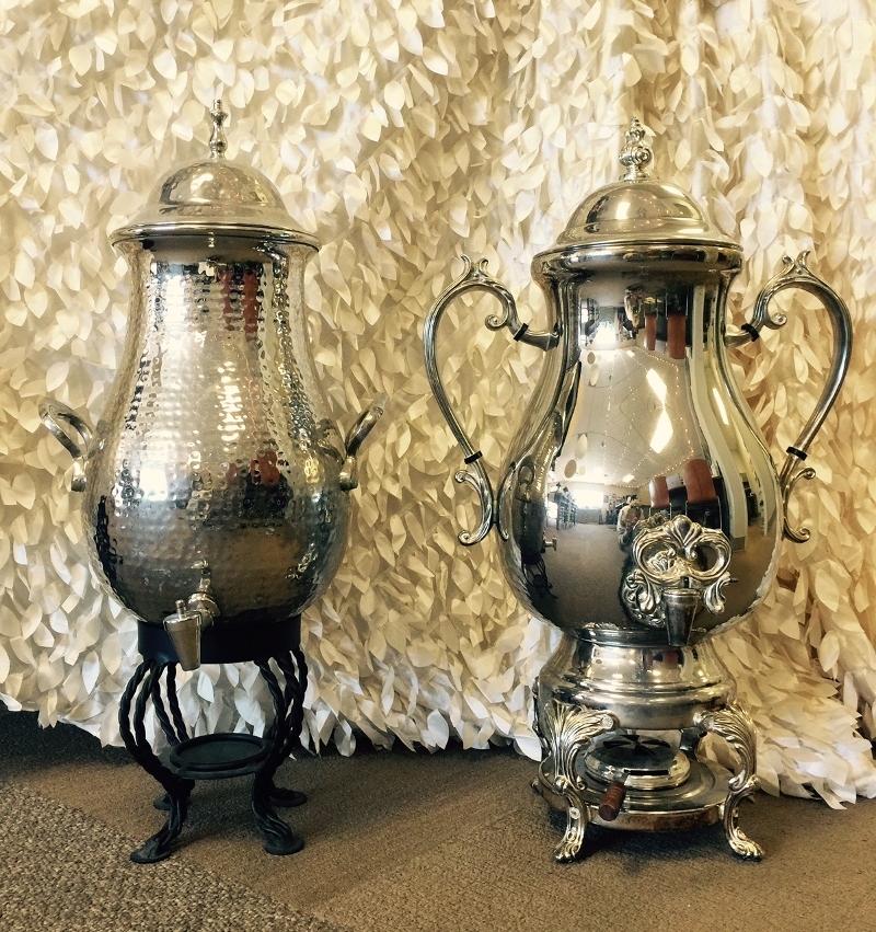 Coffee 50 Cup Samovar<br><br>Available in Hammered Silver or Silver Plated.