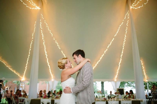 Swag Lighting<br><br>Beautiful twinkle lighting draping the curves of the tent top, looks elegant in any tent size!