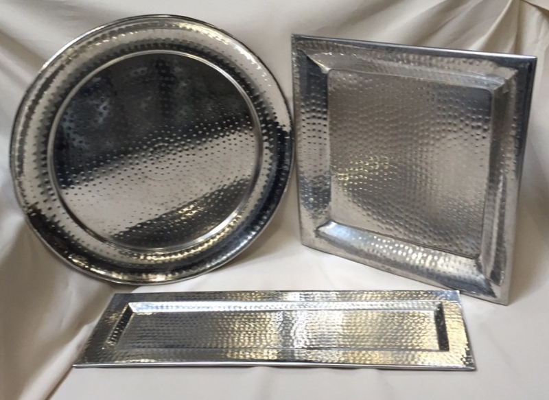 Tray - Hammered Silver<br><br>Silver hammered trays come in two sizes or round and square, also a trendy rectangle!