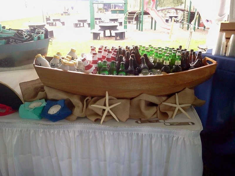 Small Boat Bar (Row Boat)<br><br>Table top wooden row boat style beverage holder. Also great for raw bar stations!