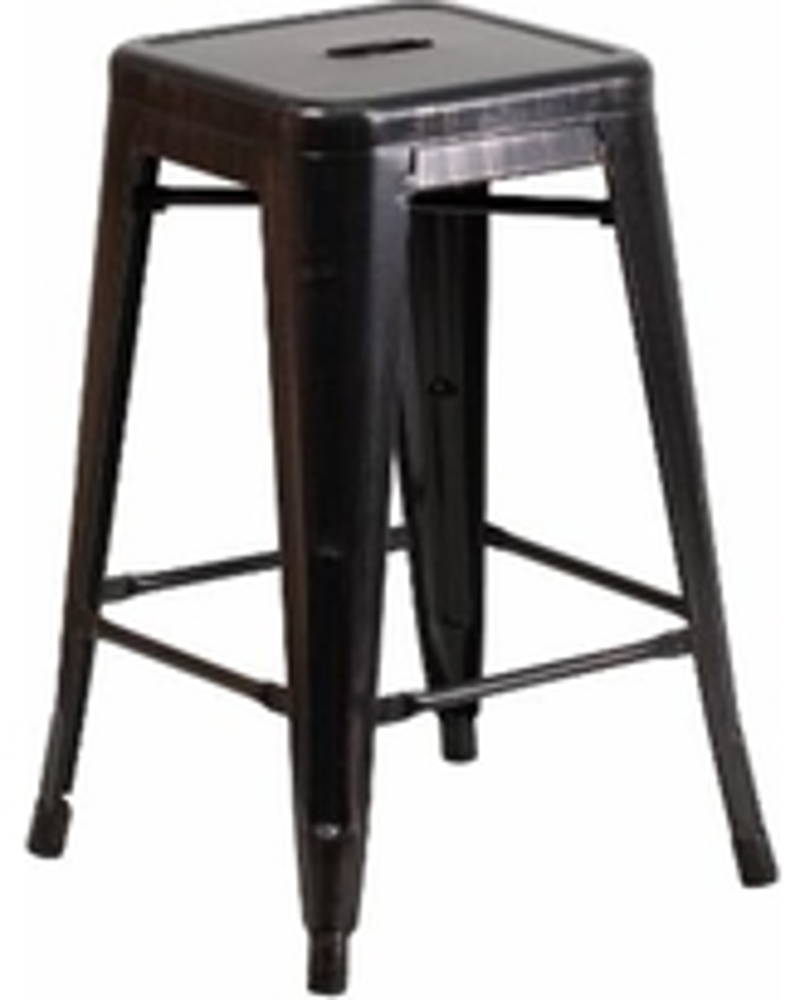 Black/Antique Gold Brushed Metal Bar Stool<br><br>$8.50 plus tax These pair perfectly with our Market Bistro Chairs!