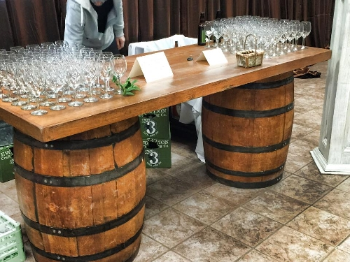 Wine Barrel Bar<br><br>Our 7' long wine barrel bar is a great accent piece for your party or wedding!