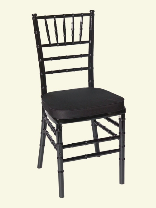 Black Chiavari Chair<br><br>$6.75 plus tax, includes cushion! Many cushion colors to choose from. Call for details!