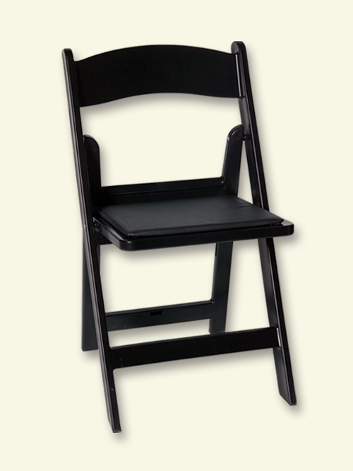 Black Padded Resin Chair<br><br>$3.00 plus tax. Black Resin Folding Chairs with a Black Padded seat!