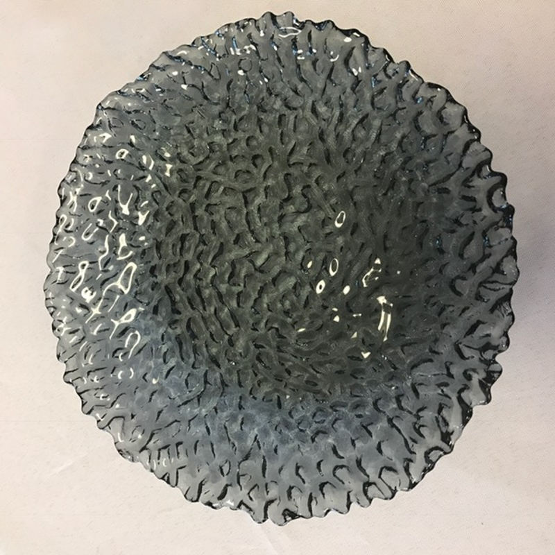 Smoked Coral Glass Plate<br><br>These glass 8' round plates are the perfect size for salads, desserts or even large appetizers! They are a very fun, textured pattern that resembles a coral reef!