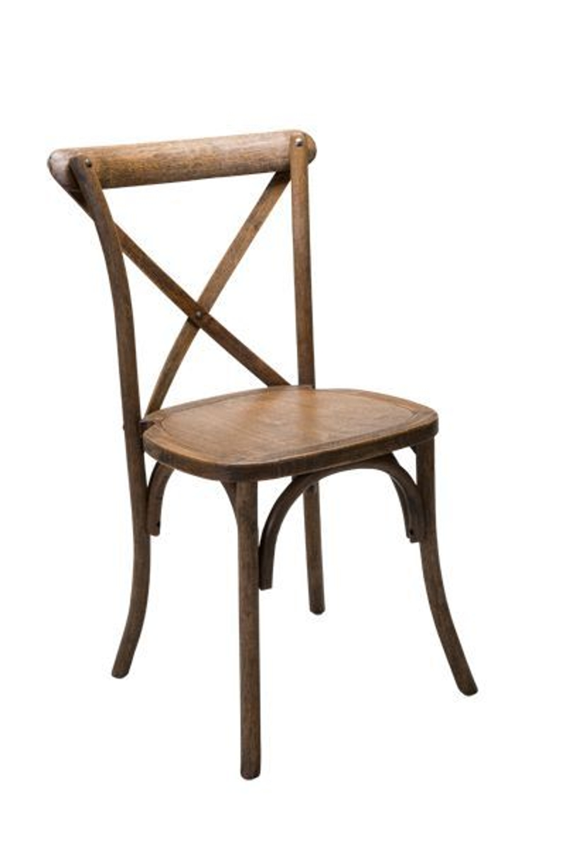 Cross Back Antique Chestnut Chair<br><br>$9.00 plus tax. Our BRAND NEW Cross Back Wedding Chairs are perfect for your next beach, garden, or outdoor themed wedding or event!! Come without cushion but cushions may be added.