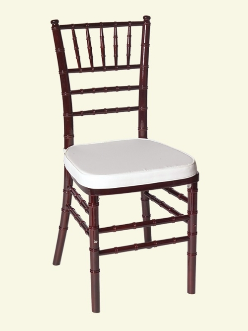 Mahogany Chiavari Chair<br><br>$6.75 plus tax includes cushion. Cushions for all of our Chiavari chairs come in a variety of colors. Please call for more information!