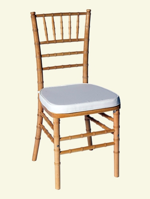 Natural Chiavari Chair<br><br>$6.75 plus tax includes cushion. Many chair cushion colors to choose from, call for details!