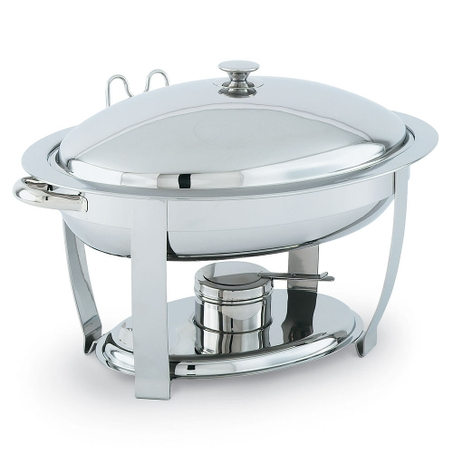 Chafer 6 Qt. Oval Silver w/ Lid Holder and Spoon Holder<br><br>Food Pan rented separately.