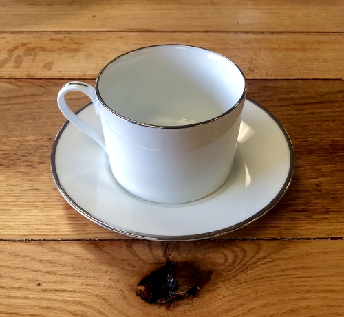 White Coffee Cup and Saucer with Platinum Trim<br><br>Available to rent separately or together!