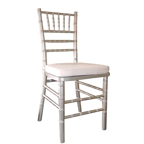 Silver Chiavari Chair<br><br>$6.75 plus tax includes cushion. Many cushion colors to choose from. Call for information!