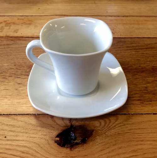 White Square Coffee Cup and Saucer<br><br>Available to rent separately or together!