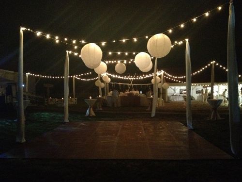 Outdoor Overhead String Lights with Paper Lanterns & Dover Rent All Tents u0026 Events | Rental Products