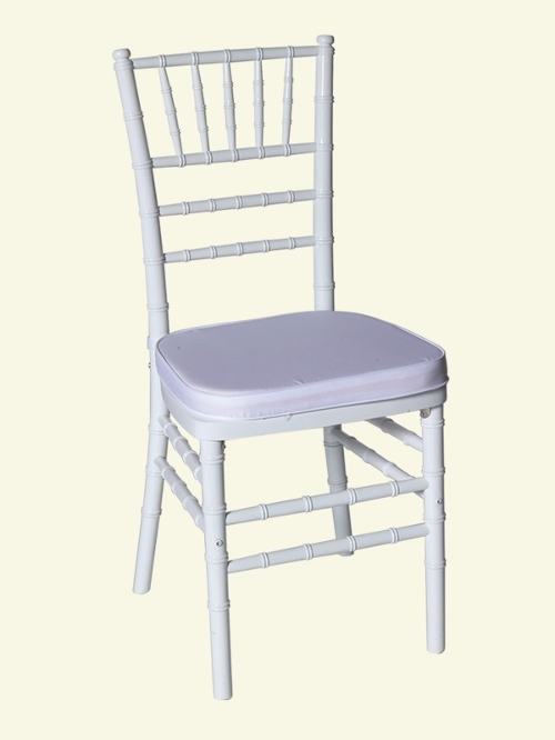 White Chiavari Chairs<br><br>$6.75 plus tax, includes cushion! Many cushion colors to choose from. Call for information!