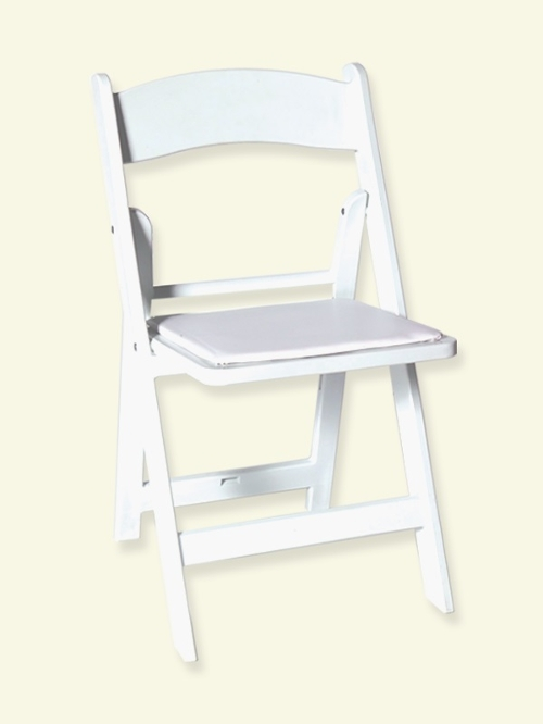 White Padded Resin Chair<br><br>$3.00 plus tax. These chairs are wonderful for anything from a garden party to a formal wedding!