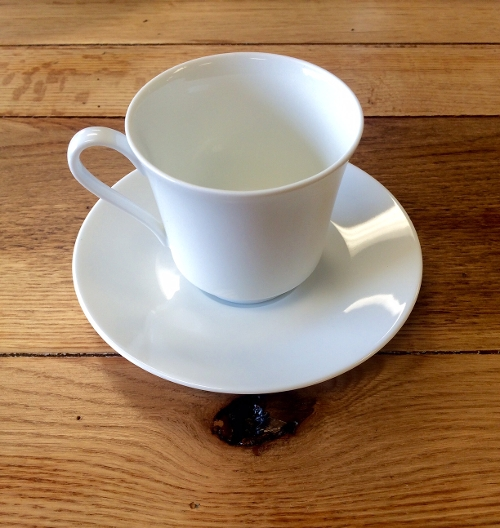 White Round Coffee Cup and Saucer<br><br>Available to rent separately or together!